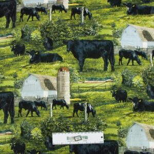 Patchwork-Quilting-Fabric-ANGUS-BLACK-COWS-Allover-Material-CottonFQ-50X55cm-NEW-162211442340