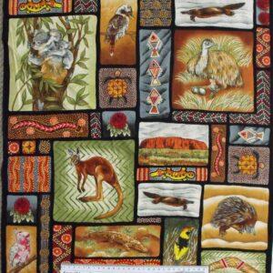 Patchwork-Quilting-Fabric-Australian-Aboriginal-Animals-Panel-60-x-55cm-161723673281