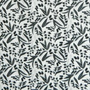 Patchwork-Quilting-Fabric-BLACK-AND-WHITE-LEAVES-Material-Cotton-FQ-50-X-55cm-161842995338