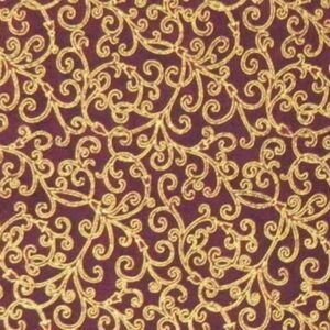 Patchwork-Quilting-Fabric-BURGUNDY-WITH-GOLD-METALLIC-Sewing-Cotton-FQ-50X55cm-112116816552