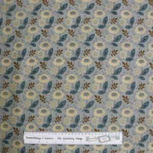Patchwork-Quilting-Fabric-Blue-Flower-Leaves-Cotton-Quilt-Fat-Quarter-FQ-111366850331