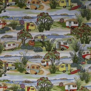 Patchwork-Quilting-Fabric-Caravans-Retro-Material-Cotton-Fat-Quarter-New-111741423073