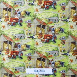 Patchwork-Quilting-Fabric-FARM-TRACTORS-COWS-Sewing-Material-Cotton-FQ-50X55cm-162098188472