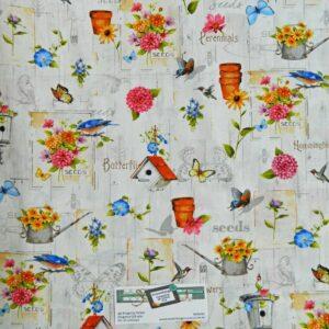 Patchwork-Quilting-Fabric-FLOWER-GARDEN-ALLOVER-BIRDS-Material-Cotton-FQ-50X55cm-162065757410