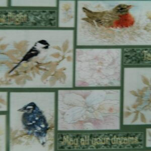 Patchwork-Quilting-Fabric-GARDEN-MELODIES-BIRDS-Material-Cotton-FQ-50X55cm-162065760011