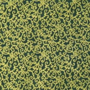 Patchwork-Quilting-Fabric-GREEN-WITH-GOLD-METALLIC-Sewing-Cotton-FQ50X55cm-NEW-112116816165