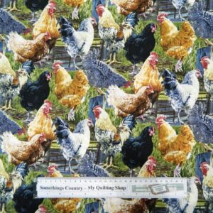 Patchwork-Quilting-Fabric-HEN-PECKED-CHICKEN-Material-Sew-Cotton-FQ-50x55cm-NEW-162028860433