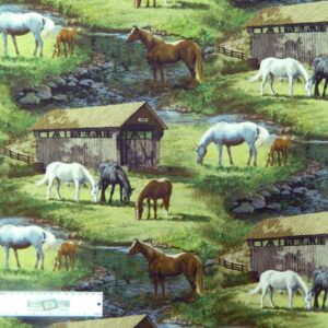 Patchwork-Quilting-Fabric-HORSES-GRAZING-Sewing-Material-Cotton-FQ-50X55cm-NEW-162143323606