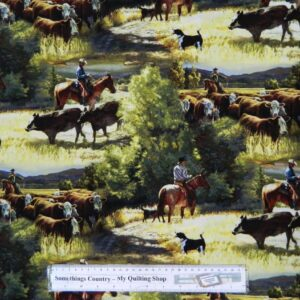 Patchwork-Quilting-Fabric-HORSES-MUSTERING-COWS-Material-Cotton-FQ-50x55cm-NEW-162209455633