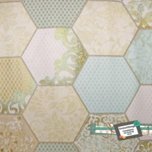 Patchwork-Quilting-Fabric-Hexagons-blue-gold-Hexies-Cotton-Quilt-FQ-50x55cm-161627358738
