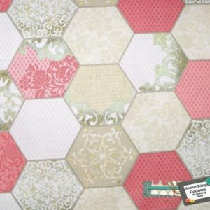 Patchwork-Quilting-Fabric-Hexagons-pink-gold-Hexies-Cotton-Quilt-FQ-50x55cm-161627359014