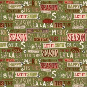 Patchwork-Quilting-Fabric-Holiday-Stitches-Xmas-Green-Words-Cotton-FQ-New-111943822808