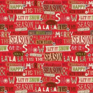 Patchwork-Quilting-Fabric-Holiday-Stitches-Xmas-Red-Words-Cotton-FQ-New-162014362705
