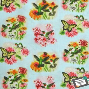 Patchwork-Quilting-Fabric-Hummingbirds-Birds-Material-Cotton-FQ-50x55cm-NEW-111557164180