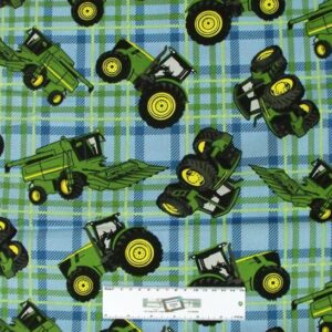 Patchwork-Quilting-Fabric-JOHN-DEERE-TRACTOR-BLUE-BG-Cotton-FQ-50X55cm-NEW-162211428317