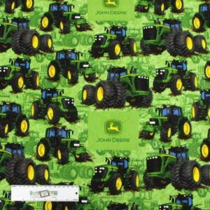 Patchwork-Quilting-Fabric-JOHN-DEERE-TRACTOR-GREEN-BG-Cotton-FQ-50X55cm-NEW-162211422383