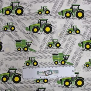 Patchwork-Quilting-Fabric-JOHN-DEERE-TRACTOR-WHITE-BG-Cotton-FQ-50X55cm-NEW-162211426437
