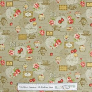 Patchwork-Quilting-Fabric-Kitchen-Tea-Beige-Linen-Like-Material-Cotton-FQ-New-161709744948