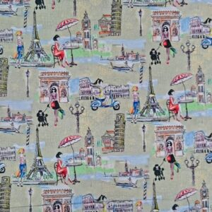 Patchwork-Quilting-Fabric-LONDON-ROME-PARIS-TRAVEL-NEW-Material-Cotton-FQ50X55cm-111992352435
