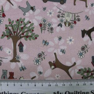 Patchwork-Quilting-Fabric-Life-Friends-Pink-Cats-Dogs-Lynette-Anderson-50x55-161608183544