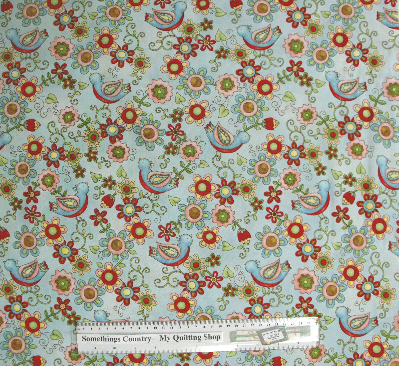 Patchwork quilting sewing fabric little birdie floral