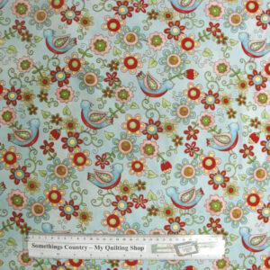 Patchwork-Quilting-Fabric-Little-Birdie-Floral-Blue-Cotton-Quilt-Fat-Quarter-111366847175