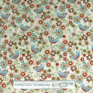 Patchwork-Quilting-Fabric-Little-Birdie-Floral-Cream-Cotton-Quilt-Fat-Quarter-111366846949