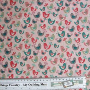 Patchwork-Quilting-Fabric-Little-Birdie-Pink-Cotton-Quilt-Fat-Quarter-FQ-111366902991