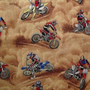 Patchwork-Quilting-Fabric-Motorcross-Motorbikes-Material-Cotton-FQ-50x55cm-New-161879935309
