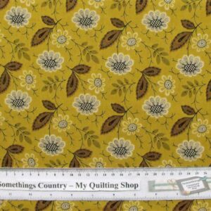 Patchwork-Quilting-Fabric-Mustard-Flower-Leaves-Cotton-Quilt-Fat-Quarter-FQ-111366848220