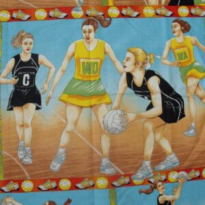 Patchwork-Quilting-Fabric-Netball-On-Court-Material-Patchwork-Panel-60x110-161389985223