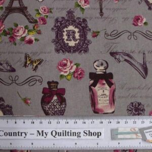Patchwork-Quilting-Fabric-Paris-Living-Roses-Butterfly-Lavender-Cotton-FQ-Linen-162187616616