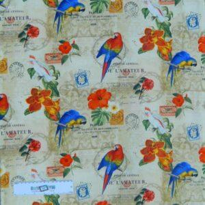 Patchwork-Quilting-Fabric-RAINFOREST-BIRDS-PARROTS-Sewing-Cotton-FQ-50X55cm-NEW-112108307735