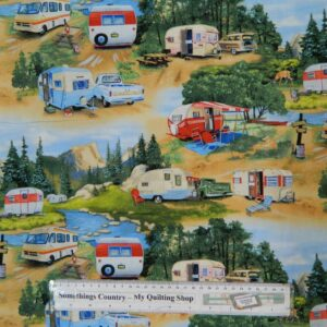 Patchwork-Quilting-Fabric-RETRO-CARAVAN-Material-Sewing-Cotton-FQ-50x55cm-NEW-111958586306