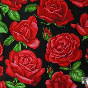 Patchwork-Quilting-Fabric-Red-Roses-Large-Material-Cotton-FQ-50x55cm-NEW-161791573150