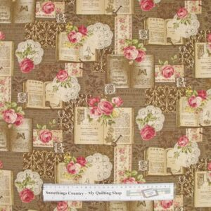 Patchwork-Quilting-Fabric-Roses-BROWN-Book-Chic-Material-Cotton-FQ-New-50X55-111674952310