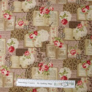 Patchwork-Quilting-Fabric-Roses-Pink-Book-Chic-Linen-Material-Cotton-FQ-New-111913632339