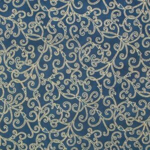 Patchwork-Quilting-Fabric-TEAL-WITH-GOLD-METALLIC-Sewing-Cotton-FQ-50X55cm-NEW-112116896659