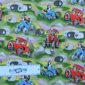 Patchwork-Quilting-Fabric-TRACTORS-SHEEP-DOGS-FARM-Sewing-Cotton-FQ50X55cm-NEW-112108306495
