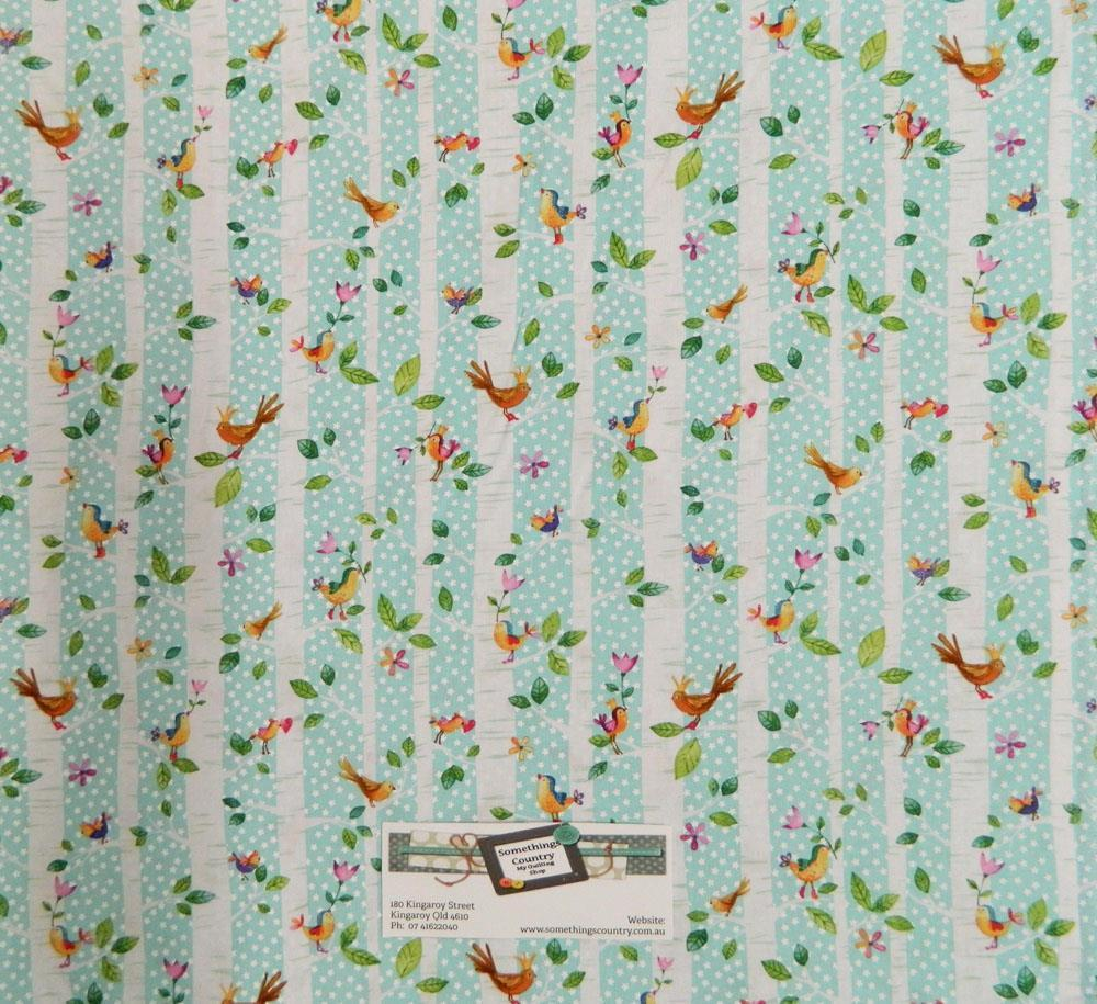 Patchwork quilting fabric trees birds blue material for Quilting material