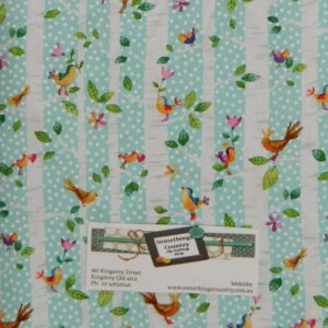 Patchwork-Quilting-Fabric-TREES-BIRDS-BLUE-Material-Cotton-FQ-50X55cm-NEW-162065747646