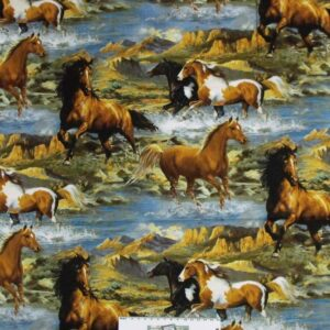 Patchwork-Quilting-Fabric-WESTERN-HORSES-Allover-Material-Cotton-FQ-50X55cm-NEW-112143864116