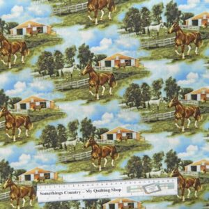 Patchwork-Quilting-Fabric-World-of-Horses-Allover-Material-Cotton-FQ-50x55cm-111603240226
