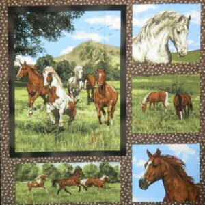 Patchwork-Quilting-Sewing-Cotton-Fabric-Panel-RUN-FREE-HORSES-90-x-110cm-NEW-111914895523