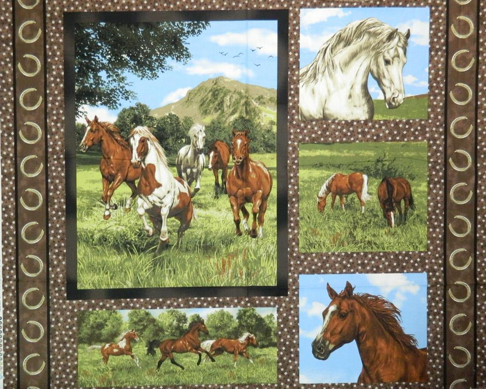 Patchwork Quilting Sewing Cotton Fabric Panel RUN FREE HORSES 90 x ... : horse fabric for quilting - Adamdwight.com