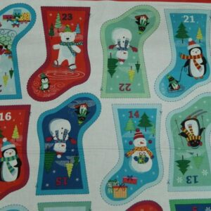 Patchwork-Quilting-Sewing-Cotton-Fabric-Panel-STOCKING-ADVENT-XMAS-60x110cm-NEW-111958614561