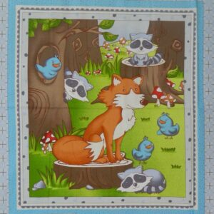 Patchwork-Quilting-Sewing-Fabric-BABY-MR-FOX-Quilt-Cotton-Panel-90x110cm-New-111826956749