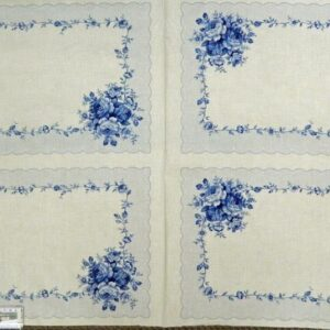 Patchwork-Quilting-Sewing-Fabric-BLUE-ROSE-PLACEMAT-Cotton-Panel-60x110cm-111855841375