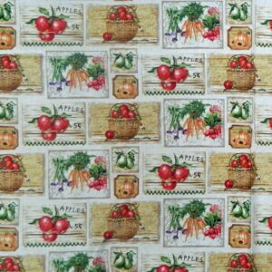 Patchwork-Quilting-Sewing-Fabric-FARMERS-MARKET-SQUARE-Cotton-Panel-60x110cm-New-111826959641